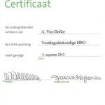 Certificaat HBO voedingsdeskundige